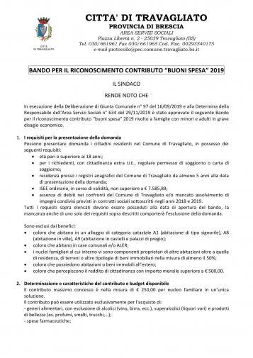 """Bando per il riconoscimento contributo """"Buoni Spesa"""" 2019"""