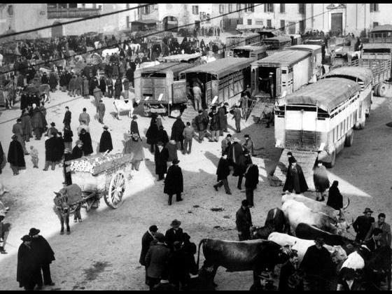 Piazza Libertà durante il mercato settimanale