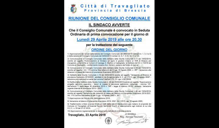Consiglio Comunale del 29/04/2019